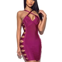 Raina Lattice Cutout Detail Bandage Dress