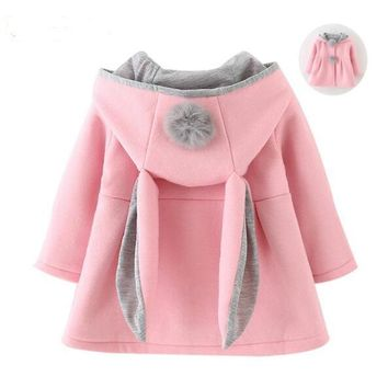 2017 Bunny Kids Girls Jacket Spring Rabbit Cute Coats Fashion Children Outwear Toddler Girl Clothing Autumn Baby Hooded Costume
