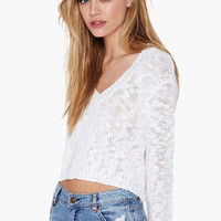 White V-Neck Knitted Long Sleeve Cropped Top