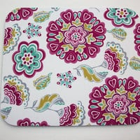Mouse Pad mouse pad / Mat - Mod teal pink flowers round or rectangle office accessories desk home decor