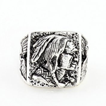 Indian Chief Signet Ring Native American Warrior Vintage Silver Tone RK02 Statement Fashion Jewelry