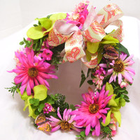 Spring Easter Floral Wreath Door Wall Decor Pinks and Greens