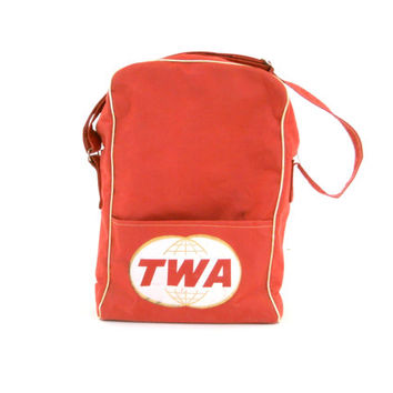 Vintage Flight Bag TWA Airline Travel Bag