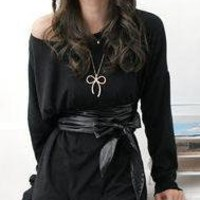 Pleated Tee-Shirt Dress with Belt (Black)