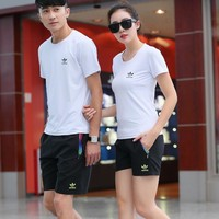 Adidas Woman Men Fashion Short Sleeve Casual Sport Gym Set Two-Piece Sportswear