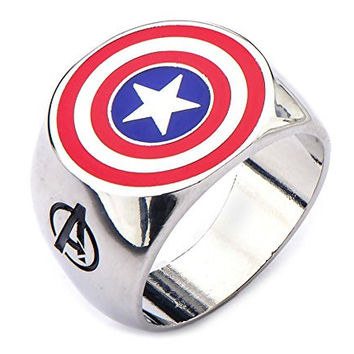 Marvel Comics Stainless Steel Captain America Ring (Size 10)
