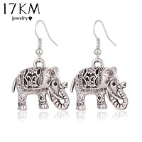 17KM Unique Tibetan Hollow Carved Elephant Drop Earring Fashion Vintage Silver Color Dangle Earrings For Women Party Jewelry