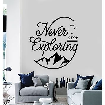 Vinyl Wall Decal Words Never Stop Exploring Camping Mountains Stickers Mural (g940)