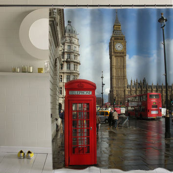 London Big Ben special custom shower curtains that will make your bathroom adorable.