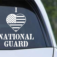 I Heart Flag National Guard Patriotic (HRO144) Die Cut Vinyl Decal Sticker
