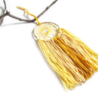 Yellow Dream Catcher Yellow Dreamcatcher Yellow Wall Hanging Small Dream Catcher Yarn Wall Hanging Bohemian Wall Decor Nursery Crib Mobile