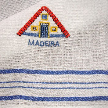 Kitchen Dish Towel, Waffle pattern towel, Dish cloth, Blue and white, embroidered, Made in Portugal, From Madeira, Store Stock vintage