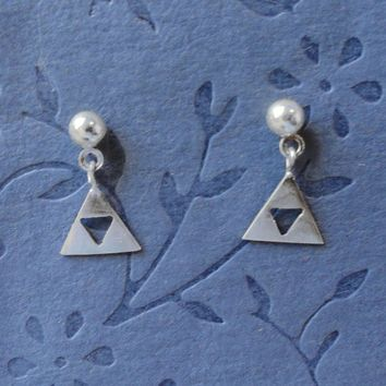 Silver Zelda Triforce dangling earrings by PicaPicaPress on Etsy