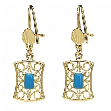 Beautiful Yellow Gold Plated  Simulated Turquoise  Filigree Dangle Earrings