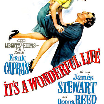 It's A Wonderful Life - Home Theater Decor Movie Poster Print -13x19 - Vintage Movie Poster - James Stewart Donna Reed Frank Capra