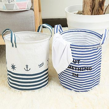 Small Laundry Basket Foldable 27*23cm Wash Bag Oxford Sailing Triangle Smile Storage Folded Dirty Clothing Bucket Storage