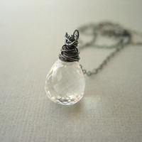 Necklace, Oxidized Silver, Rock Crystal Quartz, Clear | Luulla