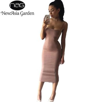 NewAsia Garden Double Layers Cotton Bodycon Dress Women Dress Winter Midi Party Long Dress Sexy Club Slip Dresses Vestido