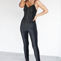Method To Madness Black Suede Zipper Jumpsuit