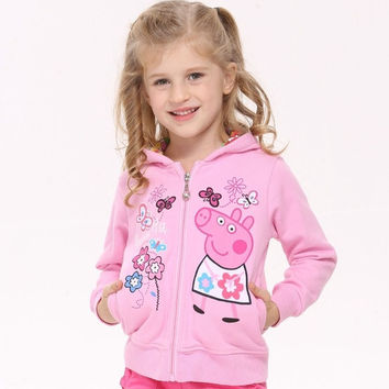Nova children peppa pig outerwear baby girls winter spring hoodies F4329 = 1930259780