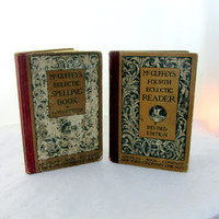 Antique Hardcover McGuffeys School Books Reader And English Vintage Collectible Gift Item 2234