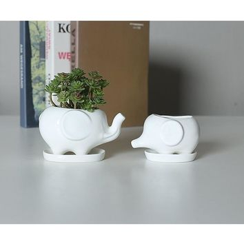 Set of 2 Cute Elephant White Ceramic Flower Pot with Tray for Succulents Cactus Plants Mini Pot Planter Home Garden Decoration