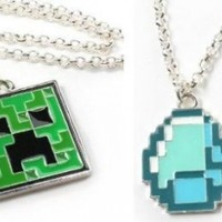 Minecraft Creeper & Diamond Pendant Necklace Set of 2 / Official Product From Mojang:Amazon:Toys & Games