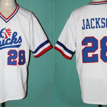 Baseball Jersey #28 Bo Jackson Chicks Baseball Jersey White Movie Jersey American Baseball Jersey Cheap Throwback Short Sleevele