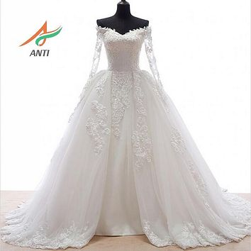 ANTI Romantic 2017 Ball Gown Wedding Dress With Long Sleeves Appliques Detachable skirts Train Robe De Mariee Bridal Gowns 44YSB