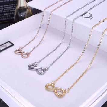"18"" Silver Rose Gold Stainless Steel Love Infinity Symbol 8 Pendant Necklace PE6"