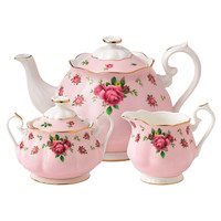 3-Piece New Country Roses Bone China Tea Set