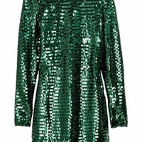 Sequined dress - Emerald green - Ladies | H&M GB