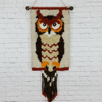 Vintage Owl Latch Hook Wall Hanging