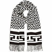 Black and white chevron print scarf - scarves - accessories - women