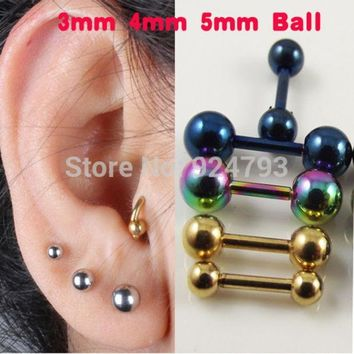CREYHY3 2 piece  Stainless Steel Tragus Earring Ball Barbell Ear Piercing  Black Silver Gold Cartilage Ring Jewelry For Men Women