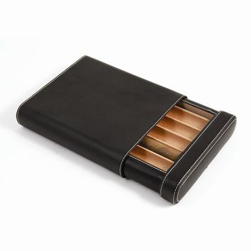 Black Leather 5 Cigar Case with Spanish Cedar Lining - Embossing Gift Item