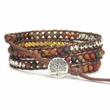 Tree of Life Bracelet Piccasso Beaded Wrap - Silver