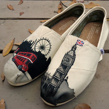 Hand Painted Toms: London, Custom Toms