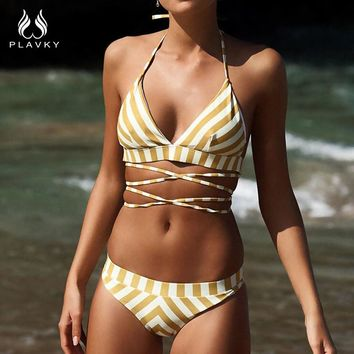 PLAVKY 2018 Sexy Halter Bandage White Yellow Striped Biquini Swim Bathing Suit Beachwear Bralette Swimsuit Swimwear Women Bikini