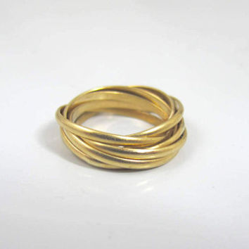 Yellow Gold Rolling Rings Band, Rolled Gold Wide 7 Stack Interlocking Puzzle Ring, Unique Wedding Band Ring, Size 5