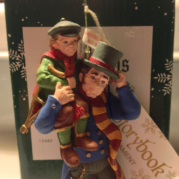 DEPT 56 Bob Cratchit, Tiny Tim Ornament, Hand Painted Dickens Christmas Decor, Original Box, Tags