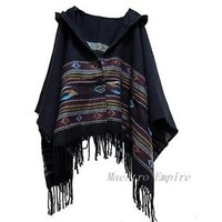 Vintage Festival Hippie Fringe Sweater Tribal aztec Hoodie Poncho Top