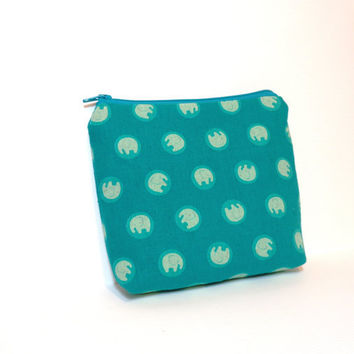 Pouch Medium Zipper Pouch Cosmetic Bag Make Up Bag   Elephants in Aqua