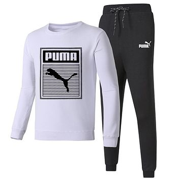 PUMA 2018 autumn and winter new round neck pullover casual trousers two-piece White