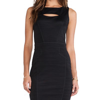 Heather Seamed Peekaboo Mini Dress in Black