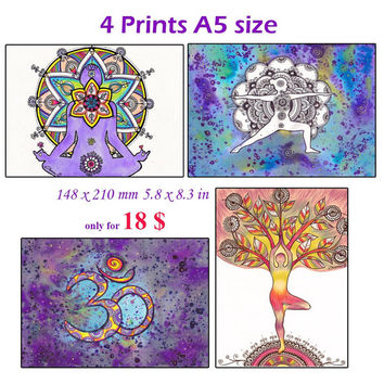 4 Cards Prints A5 size, OM sign Yoga Art Wall decor, Yoga gift idea Yoga asana painting, Colorful Wall decor, Om symbol art, Mandala drawing