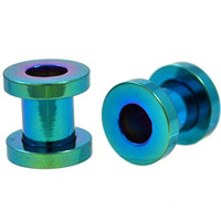 Pair of Green Titanium Plated Steel Screw Fit Ear Plugs Tunnels Gauges- 2G 6MM