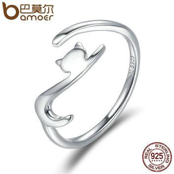 BAMOER 100% 925 Sterling Silver Sticky Cat with Long Tail Finger Ring Women Ring Adjustable Engagement Ring Jewelry SCR220