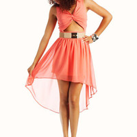 cut-out-high-low-dress CORAL CREAM - GoJane.com
