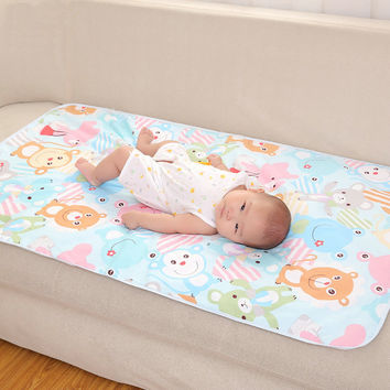 [Sashine] 100% Cotton Baby PVC Waterproof Bed Nappy Changing Sheet Mat Cover Urine Pad